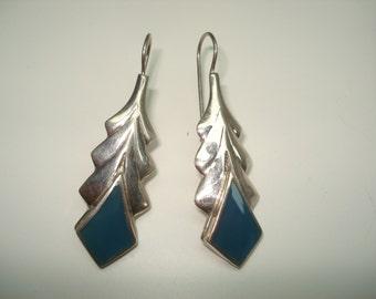 Sterling Silver Blue Chalcedony Pierced Earrings