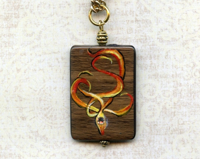 SALE -HAND PAINTED Jewelry;pendant,art,flames,embossed,wood-look bead,16 inch gold metal chain, Swarovski crystal, wearable art, reversible,