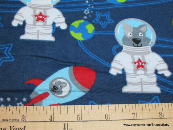 Flannel fabric dogs in space by the yard 100 cotton for Space fabric by the yard