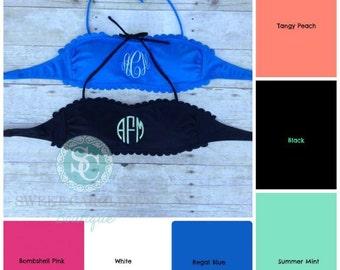 Monogram Bandeau bathing suit top, Black, Royal blue, Hot Pink, Mint, scalloped bathing suit top, womens bandeau