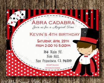 Magic invite -  magician boy printable invitation - Magic birthday party - magician invitation - Magician printable - Birthday invitation