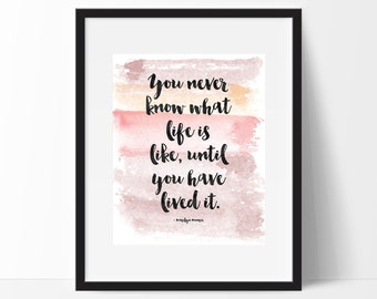 Printable Marilyn Monroe Quote, Pink Watercolor Art, Quote Wall Print, Home Decor