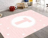 Monogram Girl, Monogram Rug, Monogram Nursery, Pink Nursery Rug, Pink Monogram,Playroom Rug, Girl Nursery Rug, Personalized Monogram, Custom