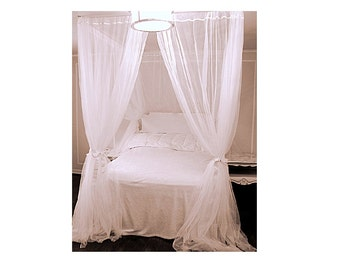 Twin Bed Canopy With Chiffon Curtains - Four Poster Bed Panels Curtained Bedroom Drapery Princess Bed  sc 1 st  Etsy & Queen Size Canopy Kit DIY Custom Hanging Suspended Curtain