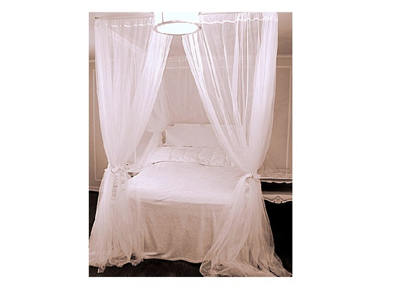 Like this item?  sc 1 st  Etsy & Twin Bed Canopy With Chiffon Curtains Four Poster Bed Panels
