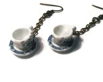 Tea cup earrings, Teacup earrings, Gift for her, Valentines gift, Coffee cup earrings, Teacup jewelry, Tea cup jewelry, Coffee cup jewelry