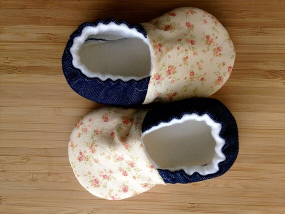 Denim baby shoes baby girl clothes vegan shoes floral baby