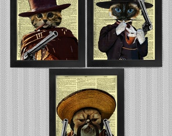The Good The Bad n The Ugly Kittens Set, set of 3, art prints, dictionary Art, Book Art, wall Decor, Wall Art Mixed Media Collage