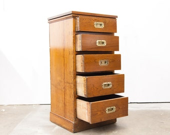 English Heart Pine Campaign Chest / File Cabinet