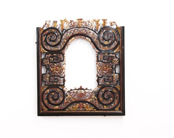 Chinese Red and Black Lacquer Carved Frame