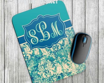Damask Mouse Pad, Blue and Teal Damask Mouse Pad, Personalized Mouse Pad