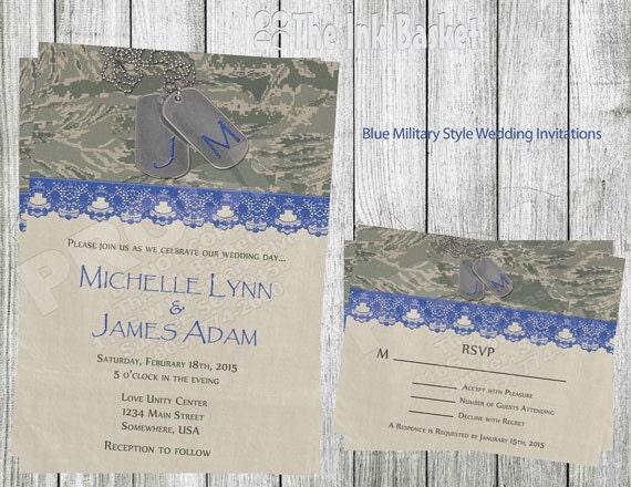 Army Wedding Invitations: Military Style Wedding Invitation Military Style Blue Color