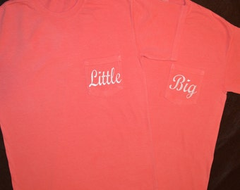 Big and Little (includes both shirts) Comfort Colors Monogrammed Pocket Short Sleeve T-Shirt