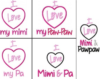 Love Mimi - PawPaw - Pa Embroidery Design PES -INSTANT DOWNLOAD-