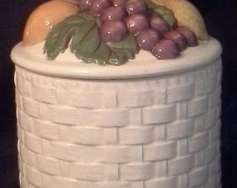 Beautiful Ceramic Basket Weave Pattern Design Fruit Top Canister
