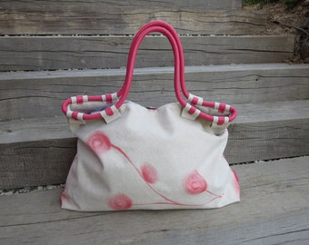 Coral Leather and Canvas Bag, Leather Details, Tote, Beach Bag, Shopping Bag