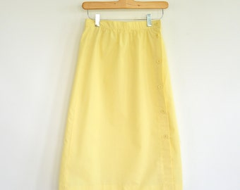 Simple Vintage Yellow Midi Skirt Side Button Small Light Pleats Panther Brand 1970's