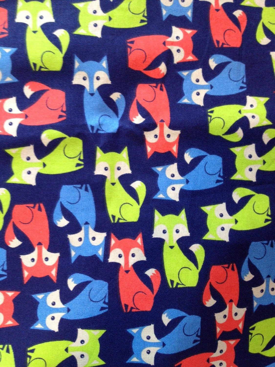 foxes fabric lime orange and blue on navy background. Black Bedroom Furniture Sets. Home Design Ideas