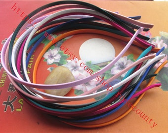 Wholesale 100pcs 5mm width assorted(more than 10 colors) soft satin ribbon All cover metal hairbands metal findings