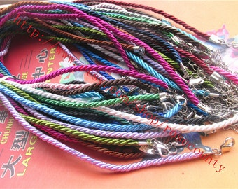 Wholesale 100pcs 16 inch 3mm assorted braided satin cord necklace with silver lobster clasps plus 2 inch extender
