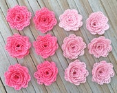 12 Burlap Mini Flower- Handmade Rustic Collection Posey Rose Roses 12 PCS Light Hot Pink Rustic Wedding Decoration Bridal Decor Card Making