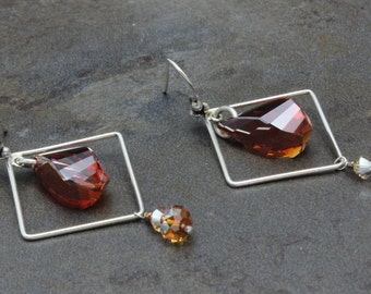 07 - Sterling Silver, Swarovski Crystals, Helix, Square, Red Magma, Square, Dangle Earrings