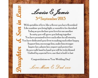 Wedding Gift Poem For Home Improvements : Personalised Square Wooden Plaque. Wedding Poem Gift. Daughter & Son ...