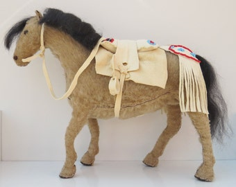 Native American Indian horse pony spirit doll sculpture model beaded tack saddle bridle costume great plains western cowboy primitive tribal