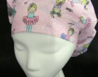 Tiny Ballet Beautiful Dancers Bouffant Surgical Scrub Hat With Banded Front & Toggled Back