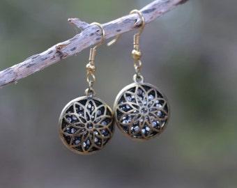 Bronze Crystal Flower Earrings