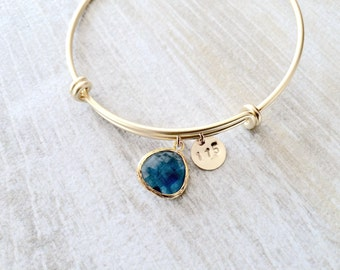 personalized Initial Bangle sapphire bangle sapphire bracelet custom stamped date numbers letters bangle monogram jewelry initial bangle