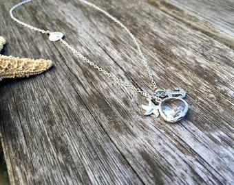starfish necklace with clear gemstone,sandollar necklace,cz anchor,925 sterling silver,crystal,beach wedding,wedding jewelry,bridesmaid gift