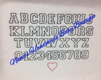 "1"" Freshman Outline FONT SET with Heart Included  BX format Included - Digital Embroidery Design"
