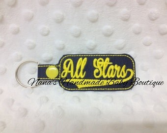 All Stars - In The Hoop - Snap/Rivet Key Fob - DIGITAL EMBROIDERY DESIGN