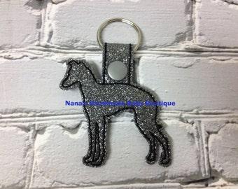 Italian Greyhound - IG - IGGY-  In The Hoop - Snap/Rivet Key Fob - DIGITAL Embroidery Design