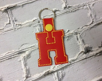 "2 Inch Letter ""H"" SNAP Key Fob In The Hoop - DIGITAL Embroidery DESIGN"