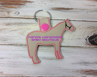 HORSE Outline -   In The Hoop - Snap/Rivet Key Fob - DIGITAL Embroidery Design