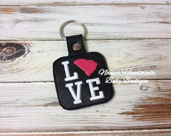 South Carolina LOVE  - CALI - In The Hoop - Snap/Rivet Key Fob - DIGITAL Embroidery Design