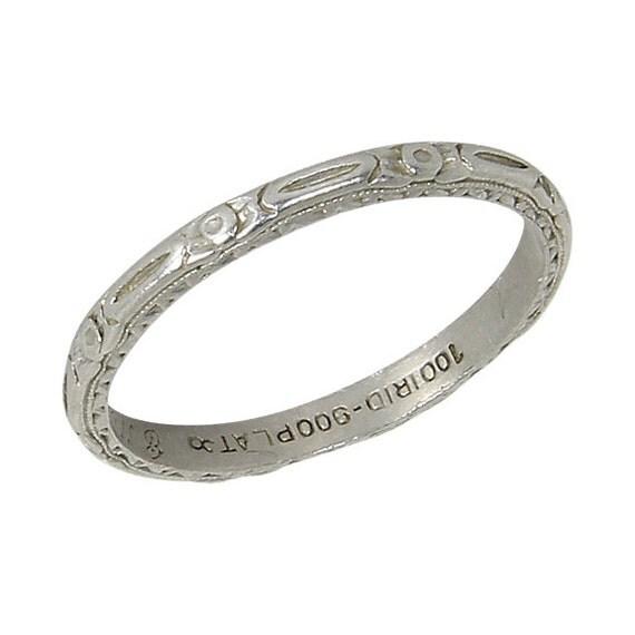 beautiful vintage deco platinum wedding band ring