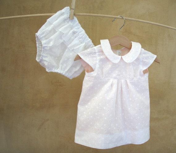 Items similar to Newborn White eyelet lace Dress and