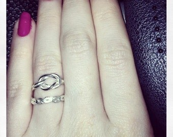 Handmade silver reef knot ring