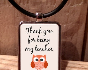 Thank You for Being my Teacher Owl Necklace