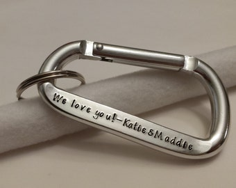 Personalized Carabiner keychain for dad, brother, rock climber