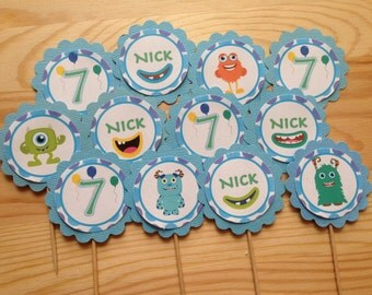 Monster Personalised Cupcake Toppers