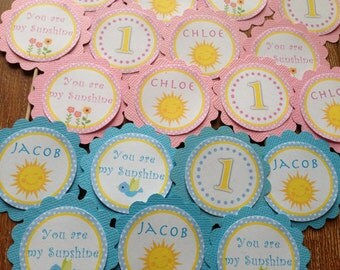 Little Sunshine Personalised Cupcake Toppers