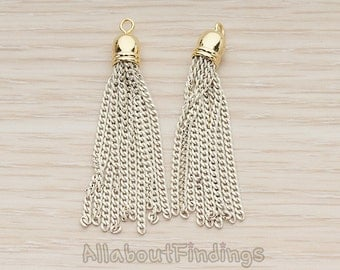 PDT1301-G-IV // Ivory Jewelry Painted Chain Gold Plated Bell Cab Tassel Pendant, 2 Pc