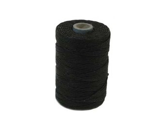 Black Irish Waxed Linen Cord 4 Ply 50 Gram Spool Approximately 100 Yards