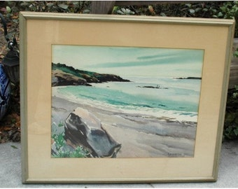 Marjorie Garfield Watercolor Painting, Beach Sea Shore Old Nautical Listed Artist