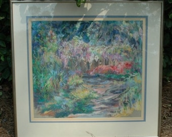 Painting C Rothrock impressionist, Old Listed Art, Rare, Original Framed Pastel Colors
