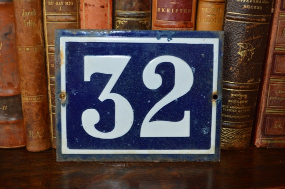 Vintage french number 32 sign house plaque old enamel number for Classic house number plaque
